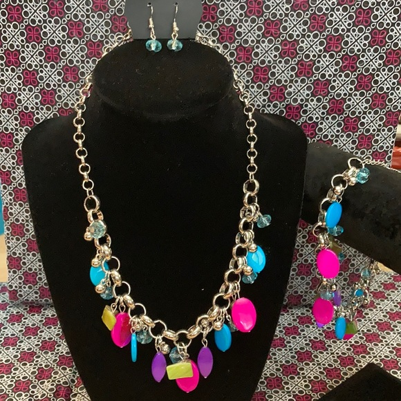 Necklace with earrings and matching bracelet